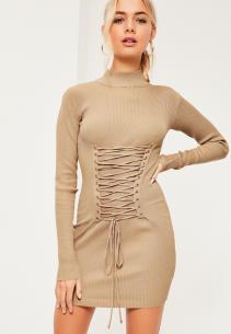nude-corset-lace-up-detail-jumper-dress